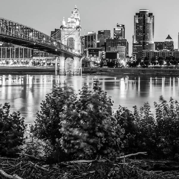 Photograph - Square Art Of The Cincinnati Skyline - Black And White by Gregory Ballos