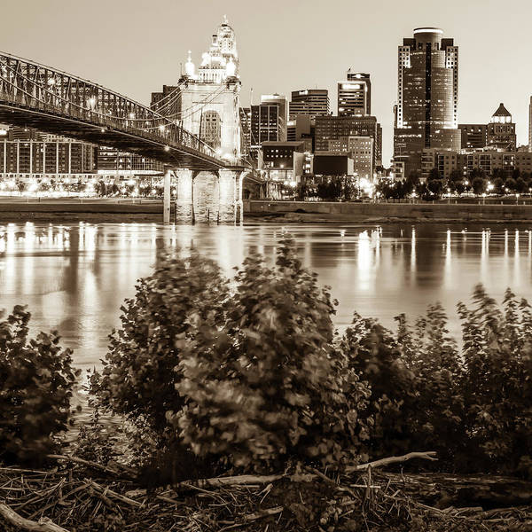 Photograph - Square Art Of The Cincinnati Skyline - Sepia by Gregory Ballos