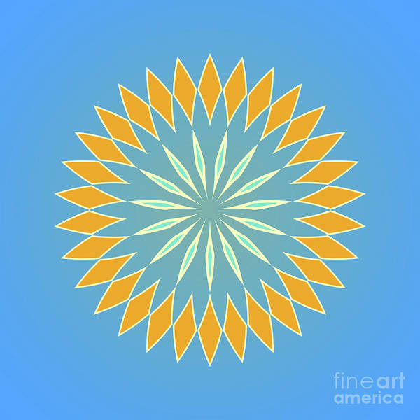 Cyan Digital Art - Square Blue And Orange Abstact by Drawspots Illustrations