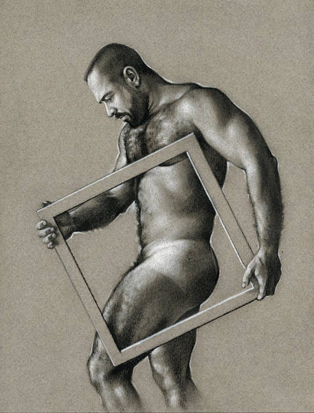 Male Nude Drawing - Square by Chris Lopez