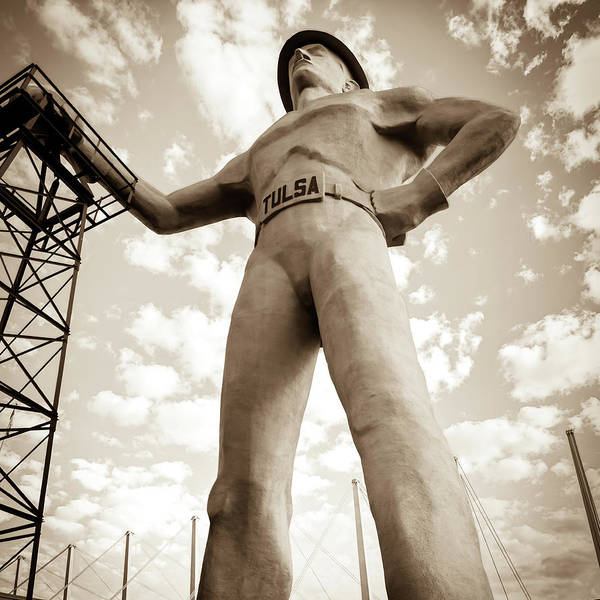 Photograph - Square Format Sepia Tulsa Driller And Clouds by Gregory Ballos