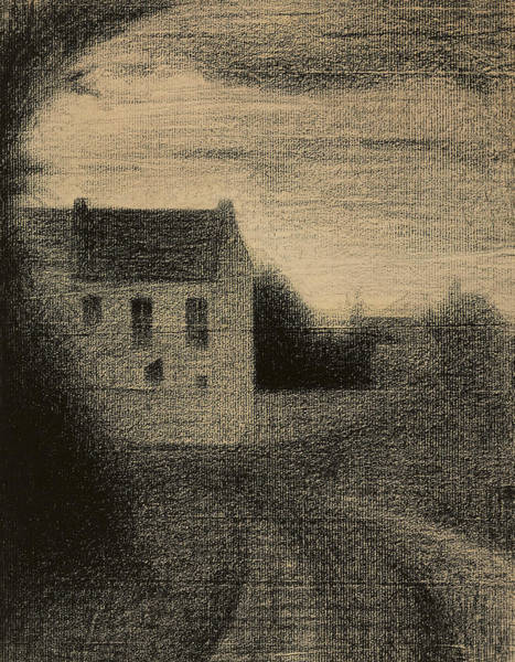 Crayon Drawing - Square House by Georges Pierre Seurat
