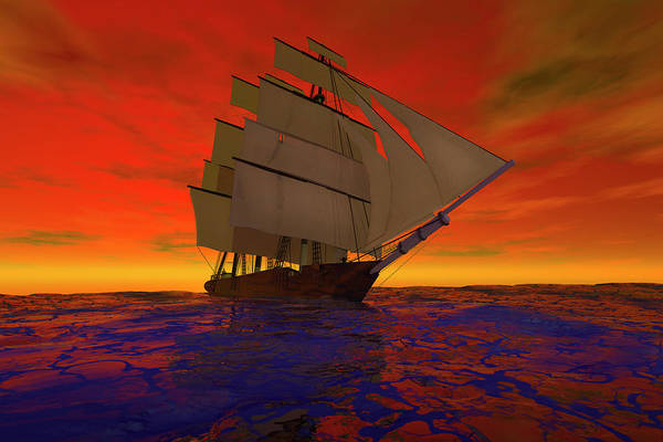 Schooner Digital Art - Square-rigged Ship At Sunset by Carol and Mike Werner