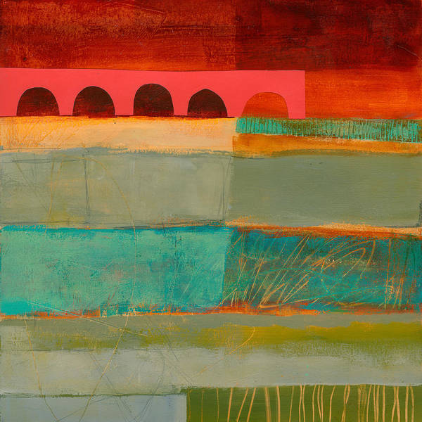 Acrylic Collage Painting - Square Stripes by Jane Davies