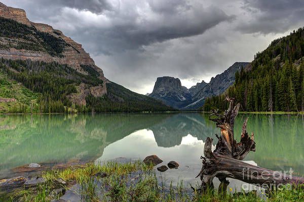 Wind River Range Wall Art - Photograph - Squaretop Mountain Reflected In Upper Green River Lake During Thunderstorm by Gary Whitton