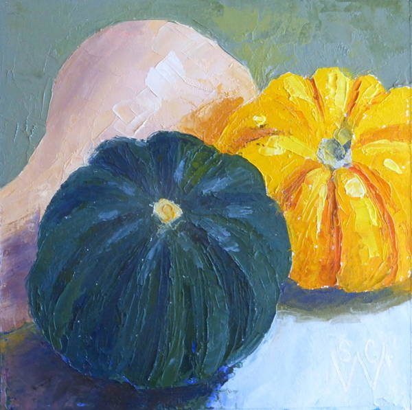 Winter Squash Painting - Squash Trio by Susan Woodward