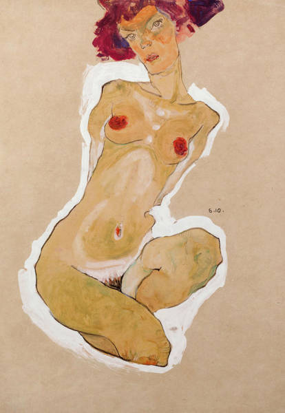 Drawing - Squatting Female Nude by Egon Schiele