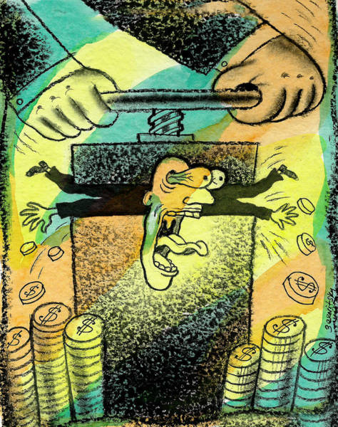 Wall Art - Painting - Squeezing The Tax by Leon Zernitsky