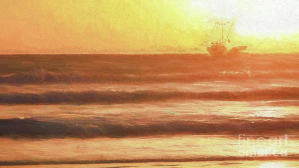 Squid Boat Sunset Art Print