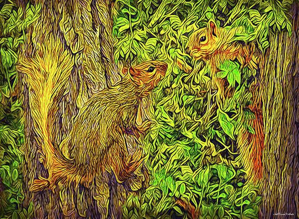 Digital Art - Squirrel Chat by Joel Bruce Wallach