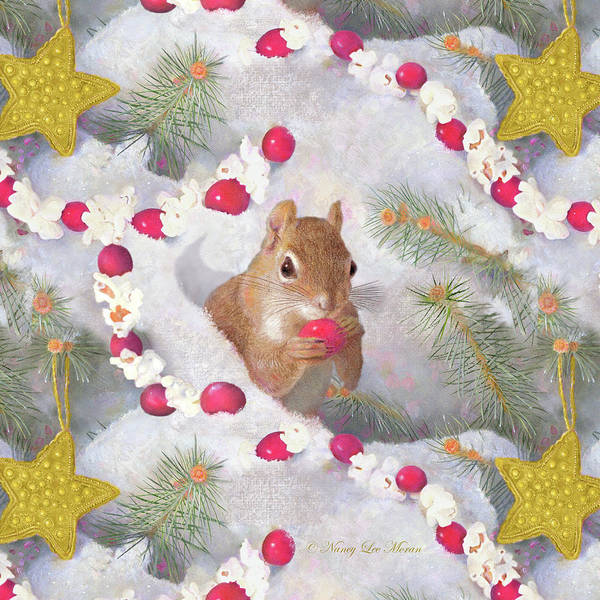 Adirondack Mountains Painting - Squirrel In Snow With Cranberries by Nancy Lee Moran
