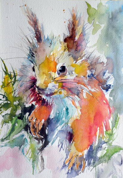Wild Life Painting - Squirrel by Kovacs Anna Brigitta