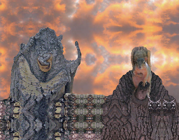 Digital Art - Squirrel Representing Nature Pleads With Ogre Fornature by Julia L Wright