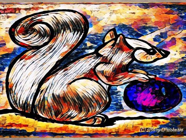 Squirrel With Christmas Ornament Art Print