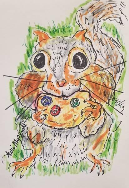 Beach Grass Drawing -  Squirreling Some Cookies by Geraldine Myszenski