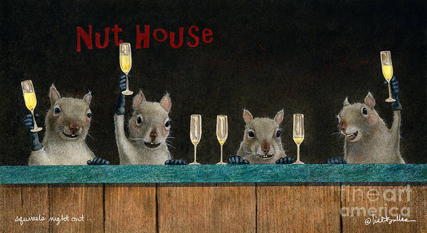 Wall Art - Painting - Squirrel's Night Out... by Will Bullas