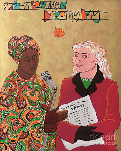 Painting - Sr. Thea Bowman And Dorothy Day - Mmtbd by Br Mickey McGrath OSFS