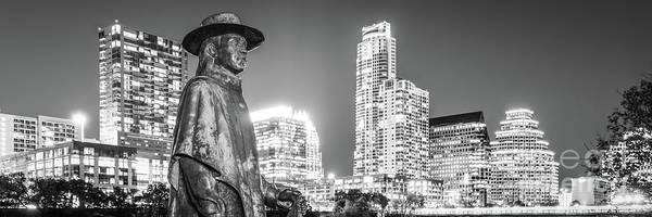 Downtown Austin Photograph - Srv Statue And Austin Skyline Black And White Panorama by Paul Velgos