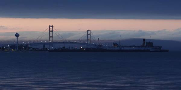 Photograph - Ss Keewatin And Mackinac Bridge by Keith Stokes