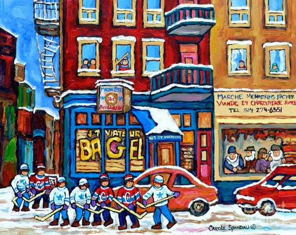 Painting - St Viateur Bagel Mehadrins  Kosher Meat Market Hockey Art Montreal Memories Carole Spandau           by Carole Spandau