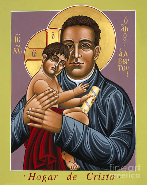 Painting - St Alberto Hurtado Hogar De Cristo 124 by William Hart McNichols