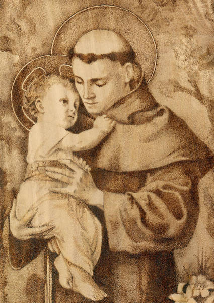 Pyrography Wall Art - Pyrography - St. Anthony by Conrad  Pinto