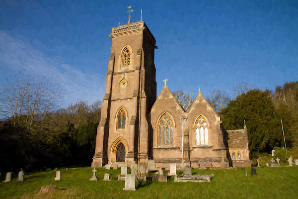 Somerset County Photograph - St Audries Church West Quantoxhead Church Somerset England Illustration Like Oil Painting by Michael Charles