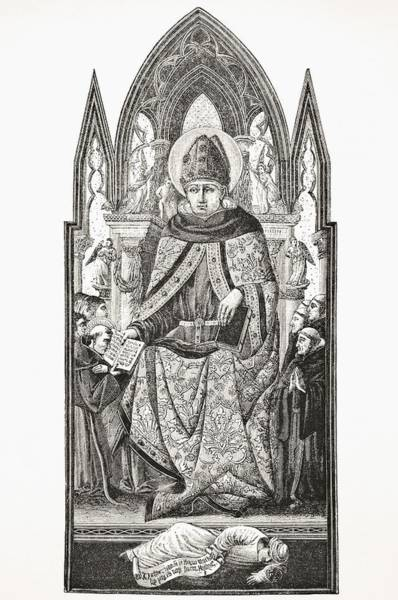 Wall Art - Drawing - St Augustine Bishop Of Hippo 354 To 430 by Vintage Design Pics