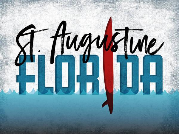 Saint Augustine Beach Wall Art - Digital Art - St Augustine Red Surfboard by Flo Karp