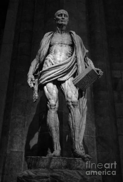 Photograph - St. Bartholomew In Milan Cathedral By Marco D'agrate In Black And White by Gregory Dyer