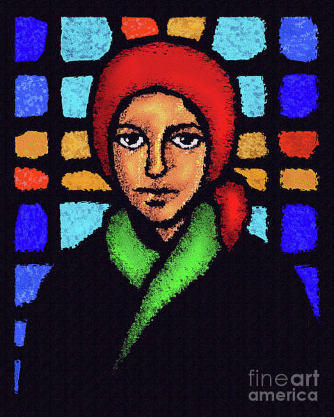 Painting - St. Bernadette Of Lourdes - Stained Glass - Dpbsg by Dan Paulos