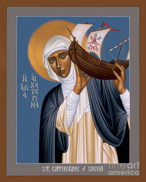 Painting - St. Catherine Of Siena - Rlcos by Br Robert Lentz OFM