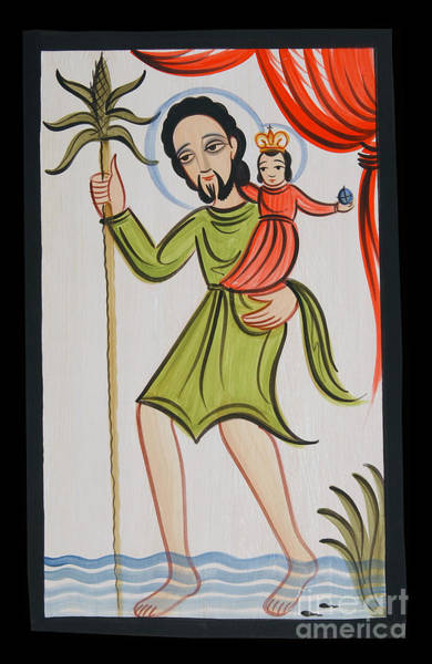 Painting - St. Christopher - Aochr by Br Arturo Olivas OFS