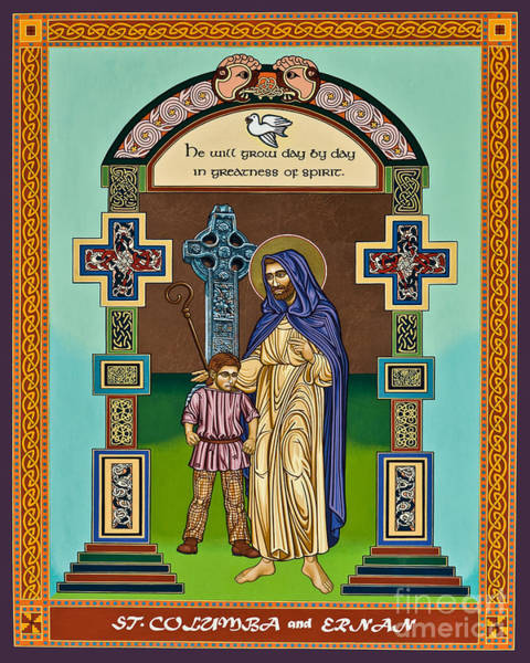 Painting - St. Columba And Ernan - Lwcae by Lewis Williams OFS