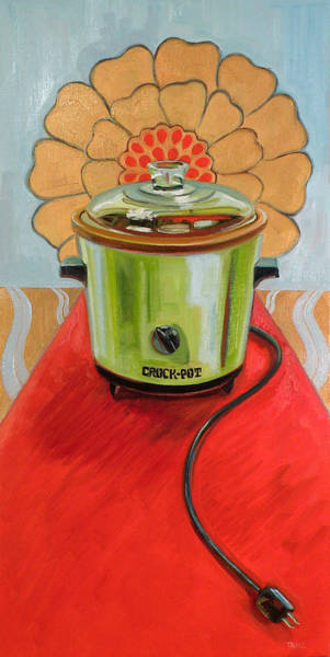 Crock Wall Art - Painting - St. Crock Pot Of The Red Carpet by Jennie Traill Schaeffer