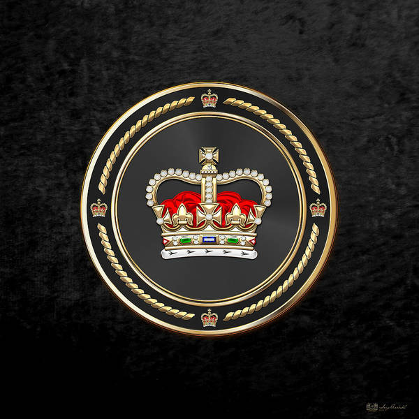 Digital Art - St Edward's Crown - British Royal Crown Over Black Velvet by Serge Averbukh