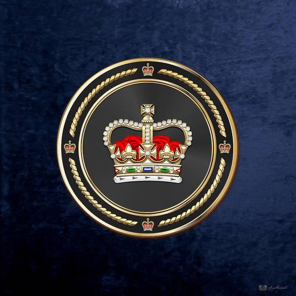 Digital Art - St Edward's Crown - British Royal Crown Over Blue Velvet by Serge Averbukh