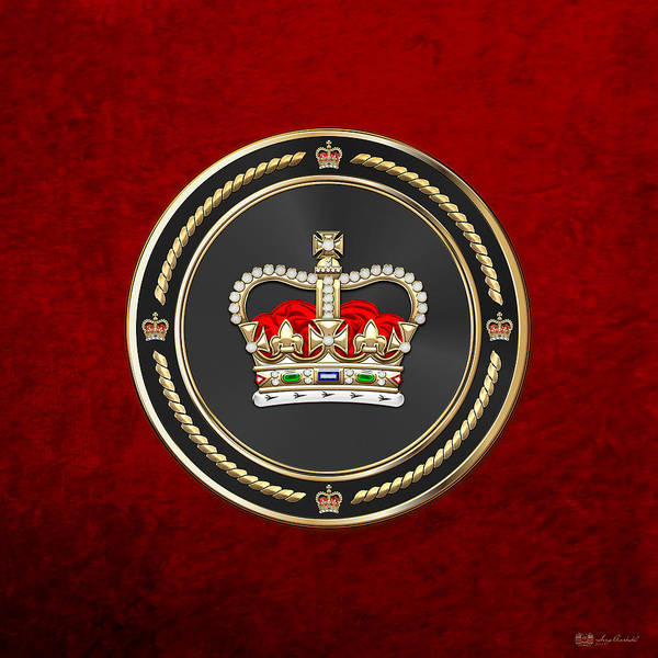 Regal Digital Art - St Edward's Crown - British Royal Crown Over Red Velvet by Serge Averbukh