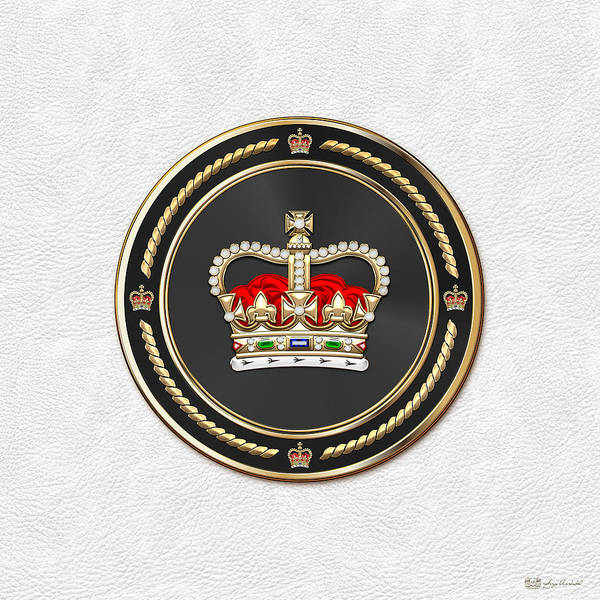 Digital Art - St Edward's Crown - British Royal Crown Over White Leather  by Serge Averbukh