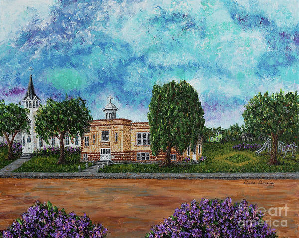 North Dakota Painting - St. Elizabeth's School And Church by Linda Donlin