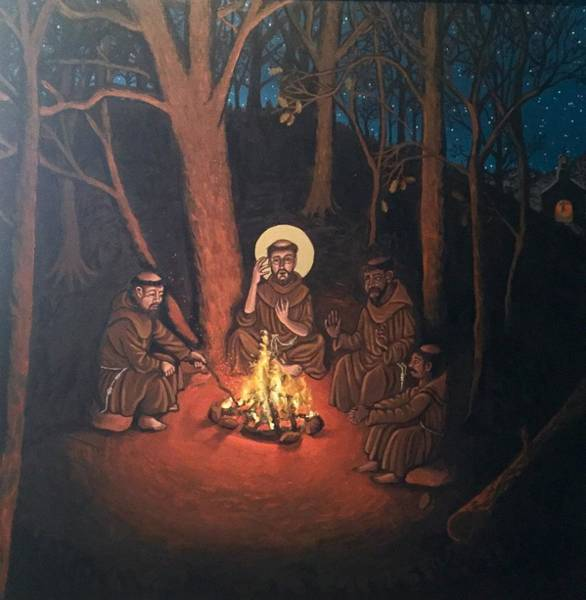 Painting - St. Francis And The Novices- Panorama by Kelly Latimore