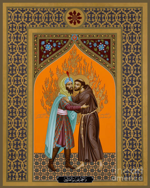Painting - St. Francis And The Sultan - Rlsul by Br Robert Lentz OFM