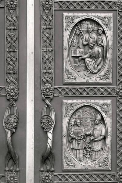 Wall Art - Photograph - St. Francis Basilica Doors Detail, Santa Fe by Michael Plotczyk