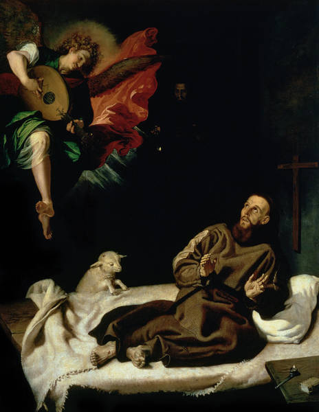 Assisi Painting - St Francis Comforted By An Angel Musician by Francisco Ribalta