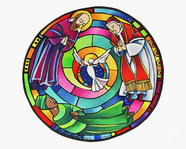 Painting - St. Francis De Sales, Thea Bowman, St. John Xxiii Mandala - Mmftj by Br Mickey McGrath OSFS