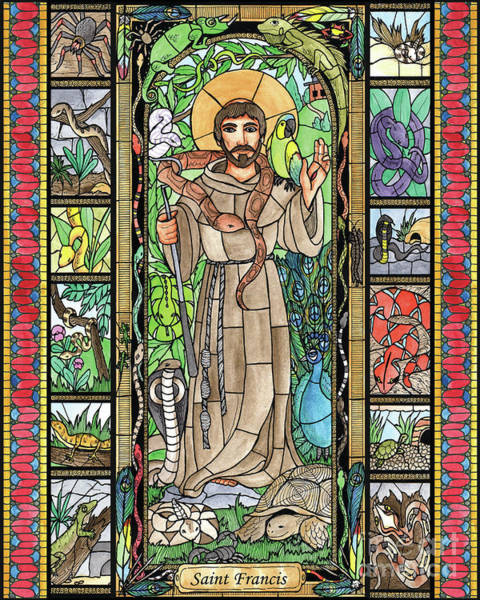 Painting - St. Francis, Exotic Animals by Brenda Nippert