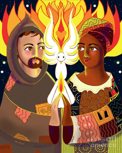 Painting - St. Francis Of Assisi - Br. Sun, Sr. Thea - Mmbrs by Br Mickey McGrath OSFS