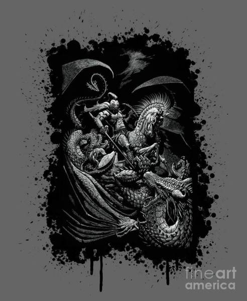 Drawing - St. George And Dragon T-shirt by Stanley Morrison