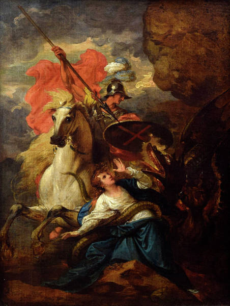 Tribute Painting - St. George And The Dragon by Benjamin West