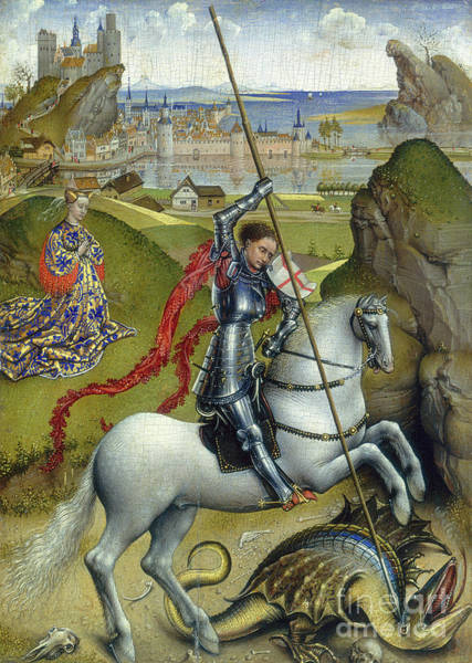 Wall Art - Painting - St George And The Dragon by Rogier van der Weyden